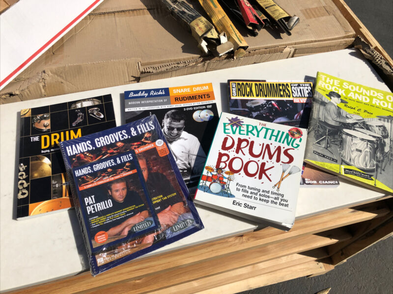(6) Drumming Books Rock Drums + DVD Handbook Buddy Rich Instruction Photography