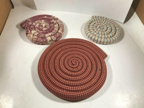 Set of 3 Handmade Cloth Spiral Trivets