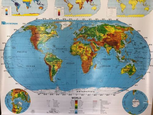 Pull Down School Maps 2 Layer World U.S Vintage, Salvage, Old, Antique.