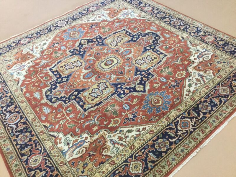 Persian Oriental Rug Square Serapi Hand Knotted Rust Navy Blue 8
