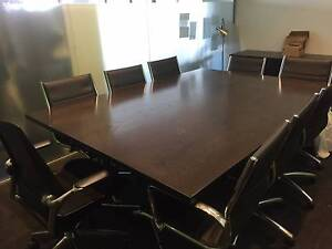 Wooden Boardroom / Dining table - PU leather 8 swivel chairs incl Woolloomooloo Inner Sydney Preview