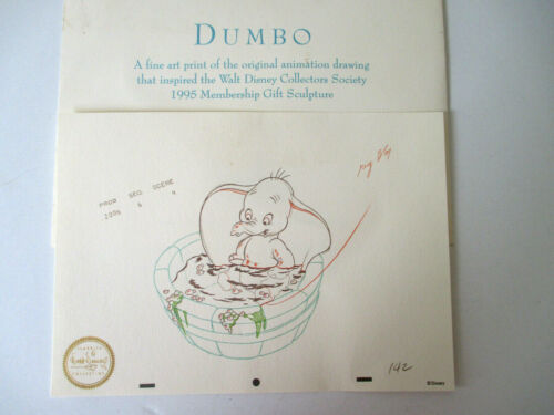 Disney Dumbo Art Print of Animation Drawing 2006 Collectors Society Exclusive