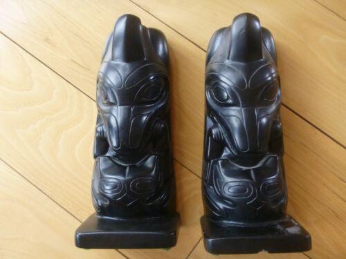 "Faux Argillite Haida Tribal Northwest Coast Totem Pole Heavy Art Sculptures 9"""