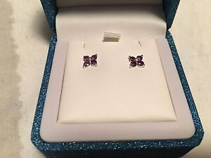 Diamond and Amethyst  stud earrings