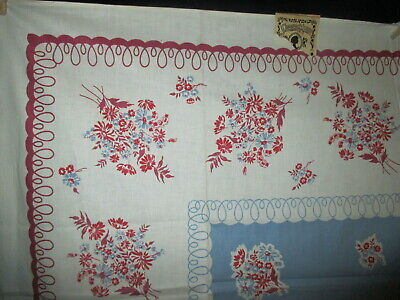 VINTAGE MAROON & BLUE FLORAL COTTON TABLECLOTH  50 x 50 EXCELLENT & UNUSED w/TAG