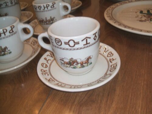 VTG Wallace WESTWARD HO Large Cup & Saucer set, Rodeo Pattern, U.S.A. made