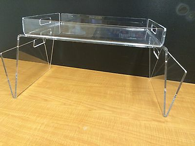 Multipurpose Acrylic Serving Tray SET Breakfast Bed Laptop Stand Display Handles ()