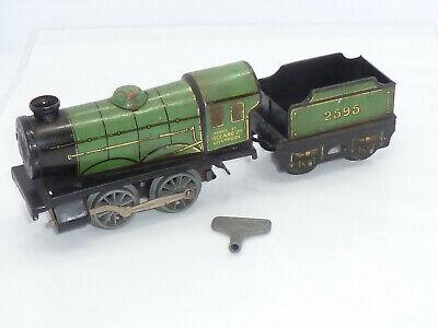 Vintage Hornby O Gauge Green Train Loco & Tender 2595 Clockwork Tinplate working
