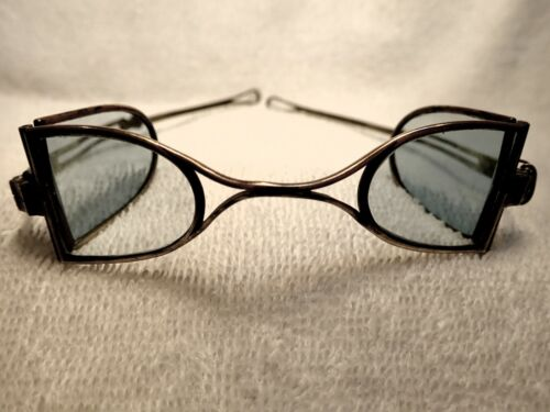 """1840 RARE CONTINENTAL SILVER FRAME """"DOUBLE D""""  CARRIAGE  PROTECTIVE SPECTACLES!"""