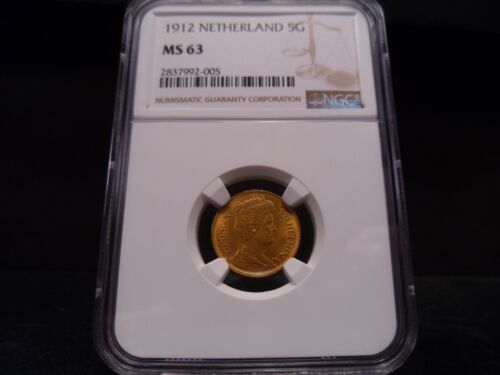 1912 MS63 Netherland Gold 5 Gulden Wilhelmina NGC Certified - Very Nice