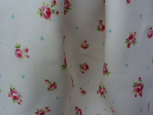"""Yuwa Cotton Linen Blend Cath Kidston Look Tiny Pink Red Roses White Fabric 58"""""""