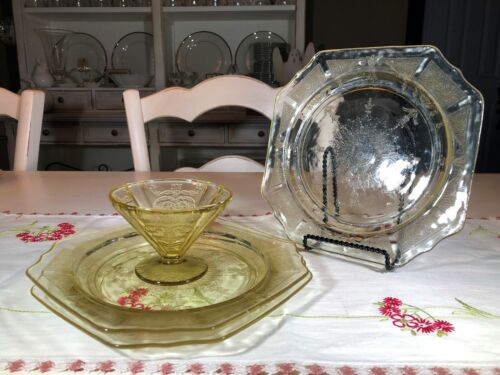 Yellow Depression Glass 3 Square Plates and Sorbet Glass
