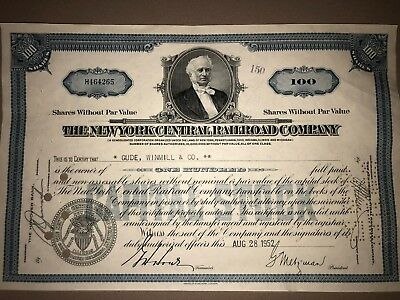 New York Central Railroad original stock certificate Vanderbilt collectible