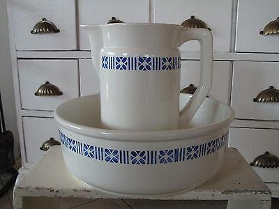 Alter Waschkrug + Waschschale Villeroy & Boch Jugendstil blau Shabby Landhaus