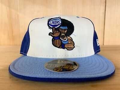 VINTAGE NEW ERA LOS ANGELES LAKERS FITTED HAT CAP BLUE WHITE 59FIFTY  ()