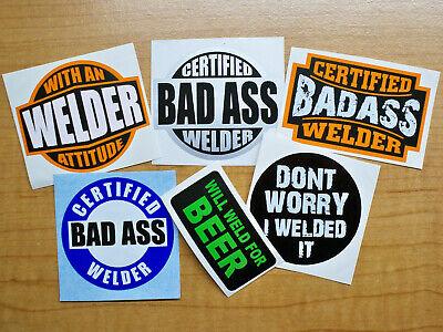 6pk Funny Hard Hat Stickers Welding Will Weld For Beer Bad Ass Welder Decals