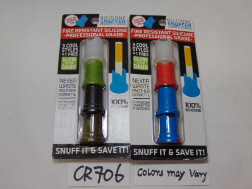 2 PACK LOT OF NOVELTY INC SILICONE SNUFFER CIGARETTE SAVER NEW COLORS VARY