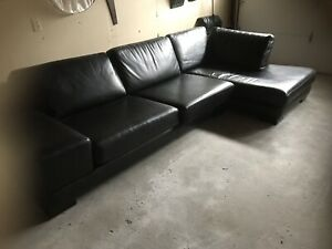 Custom Made Black Italian Leather Couch with Chaise Lounge