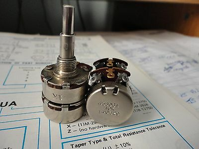 Nos Dual Potentiometer 1k10k Concentric Shaft Linear Taper 1watt Mfg.. Clarosta