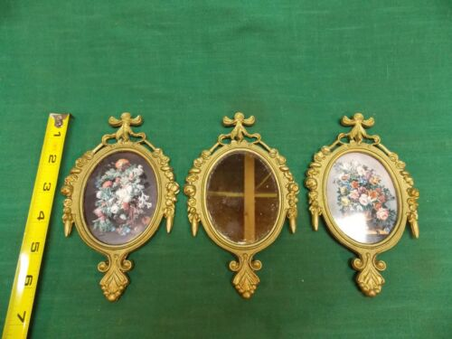 """Lot 3 vtg brass oval ornate picture mirror frames Italy Floral Small 4"""" x 6 1/2"""