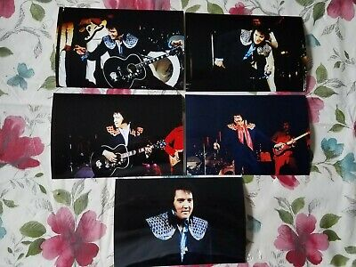 Elvis Presley 9 Photo Set (1975) in Two Piece Outfits, Vegas/On Tour & FREE - Elvis Presley Outfits
