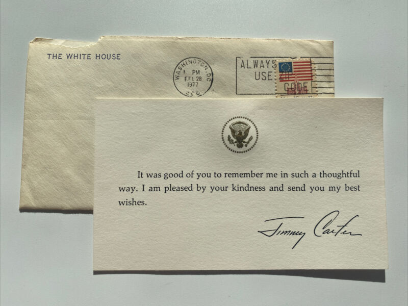1977 President Jimmy Carter White House Thank You Card Presidential Federal Seal