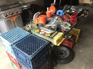 Large lot of tools, hardware, trailer lights, chains