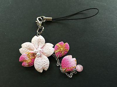 Japanese Crape Works Chirimen Sakura Cherry Blossom NETSUKE Strap Pink JAPAN