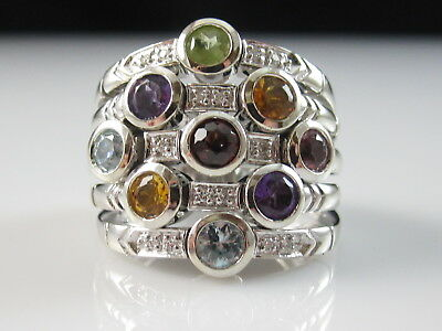 Sonia B 14K Diamond Ring Bitton Flex White Gold Designer Signed Fine Size 7