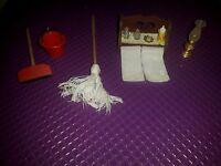 Dolls House Mensola+mocio+lampada Casa Delle Bambole -  - ebay.it