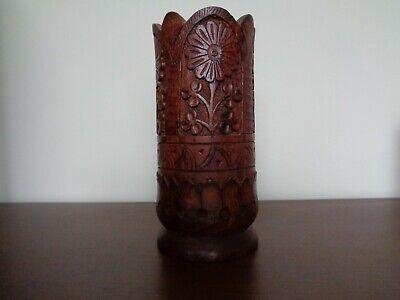 Rustic Wooden Hand Carved Vase Ethnic Vintage Flower