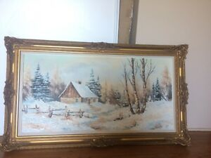 Large Oil Painting. professionally framed. Size 2 x 4.