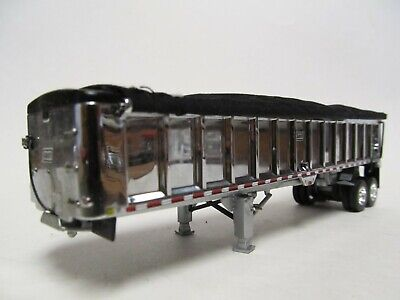 DCP 1/64 SCALE EAST END DUMP TRAILER WITH CHROME SIDES SILVER FRAME BLACK TARP