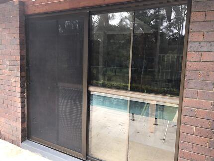 Sliding glass doors + crimsafe screen door - x2 sets