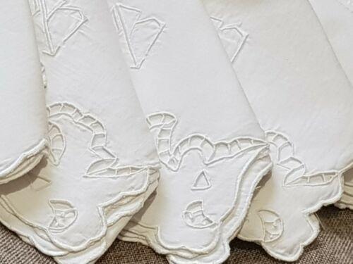 Antique-Vintage-100% line-6 napkins with monogram- PB-55 cm x 55 cm 1910-1930