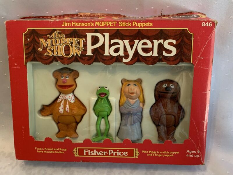 Vtg 1978 THE MUPPET SHOW PLAYERS Stick Puppets KERMIT Miss Piggy ROWLF Fozzie