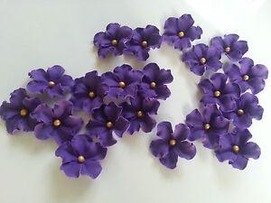Edible Sugar Purple Veined Flowers Gold Balls Cupcake Cake Topper 20 Wedding