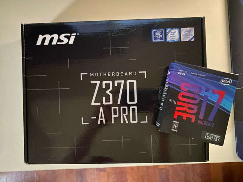 Intel i7-8700k with MSI Z370-A Pro Motherboard Bundle (Never OC