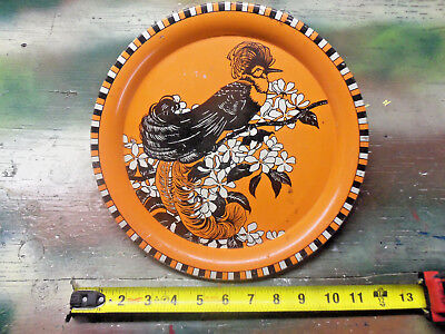 """11"""" Vintage Peacock Orange Tin Plate Tray, Unmarked Great Patina bird flower old"""
