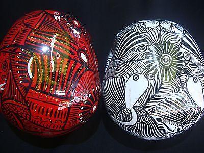 Lot of 2 Large Day of the Dead sugar skulls Dia de Los Muertos,, talavera,  art