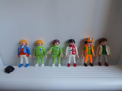 Geobra Playmobil 6 Toy Figures With Spare Hair Accessorie