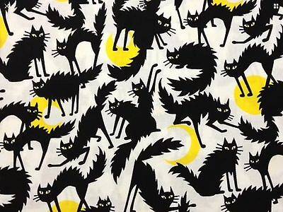 RPG670 Ghastlies Black Cat Halloween A Henry Full Moon Cotton Quilt Fabric - Henri Black Cat Halloween