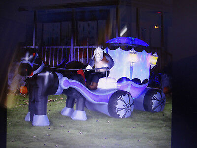 Huge Gemmy Airblown Inflatable Halloween Carriage Light Up Prop Yard Decor