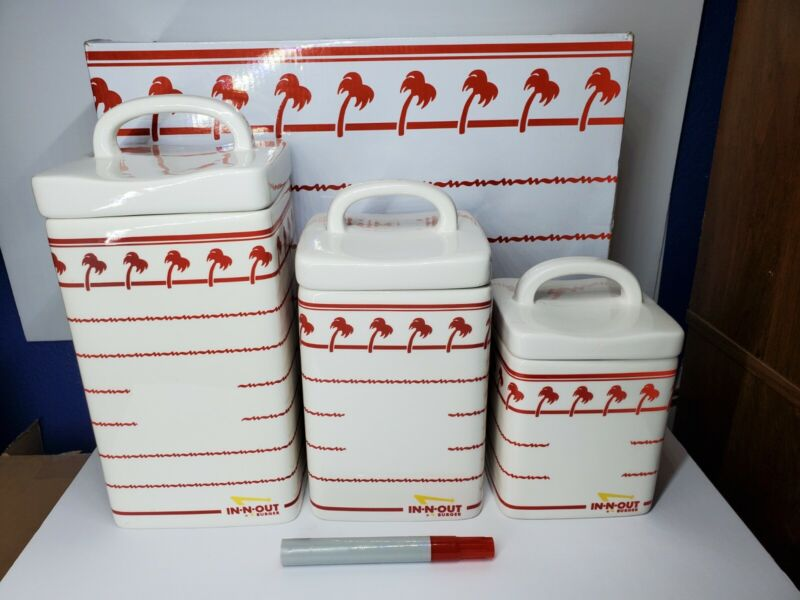 In-n-Out Burger Ceramic Cookie Jar/Canisters Set of 3 with Box!