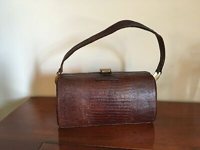1950s Handbags, Purses, and Evening Bag Styles Vintage 1950s Genuine REPTILE SKIN HANDBAG Purse - Brown $30.00 AT vintagedancer.com