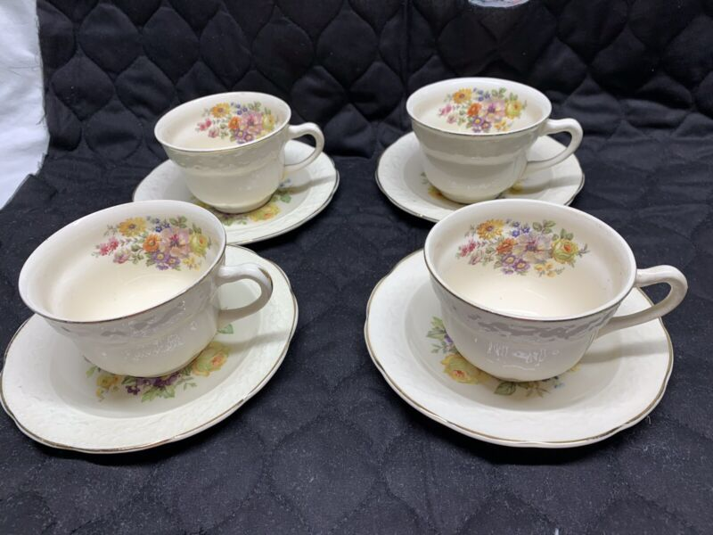 Edwin M Knowles Semi Vitreous China Set Of 4 Cups & Saucers Floral Pattern USA