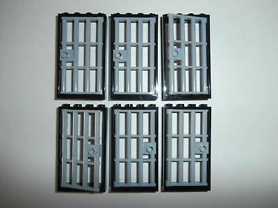 LEGO CLASSIC 6 Gittertüren in schwarz 4535834 mit Gitter in hellgrau 4610149 NEU ()