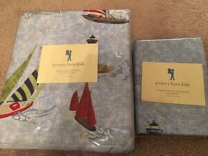 New Pottery Barn Kids Nautical Sailboat Twin Duvet Cover And Pillowcase Regatta