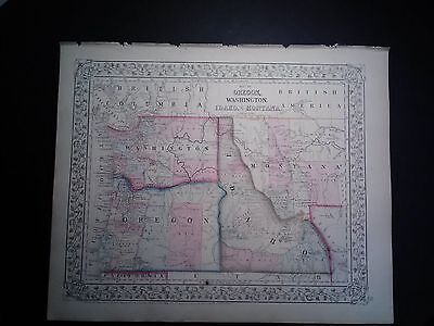 Original Mitchell's 1867 Map Of Oregon, Washington, Idaho & Part Of MT