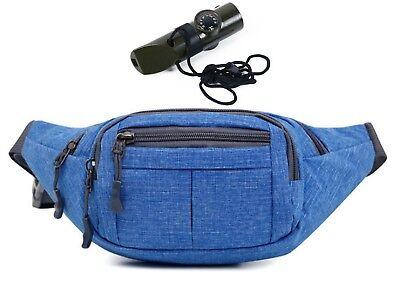 Fanny Pack Denim Blue Travel Waist Bag Packs Men Emergency Flashlight - Denim Fanny Pack